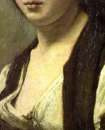 Corot, la femme à la perle, détail.