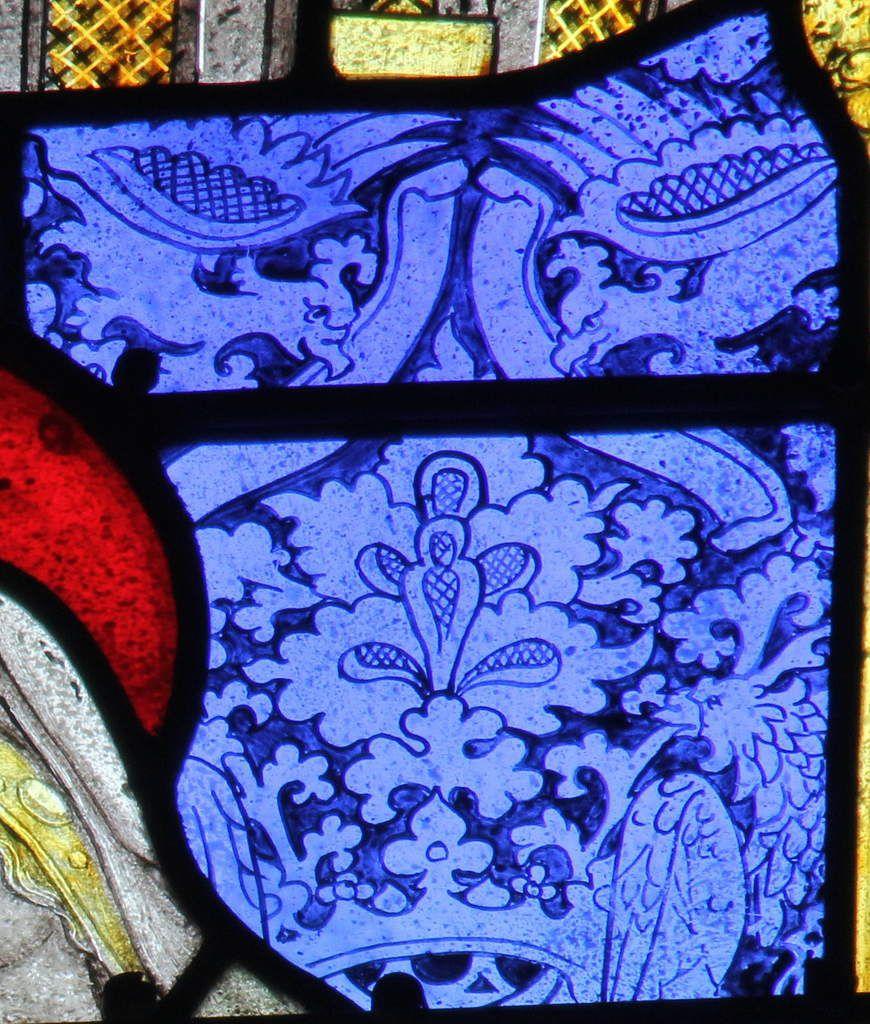 Fond damassé, lancette A, Baie 100, cathédrale de Quimper, photo lavieb-aile.
