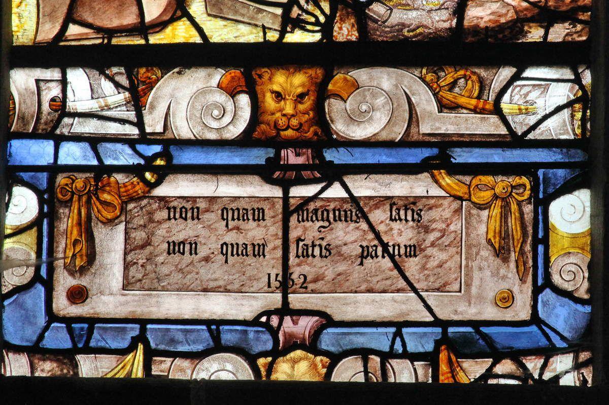 Le vitrail du Pressoir Mystique, baie n°14 de l'église Sainte-Foy de Conches-en-Ouche, photographie lavieb-aile.