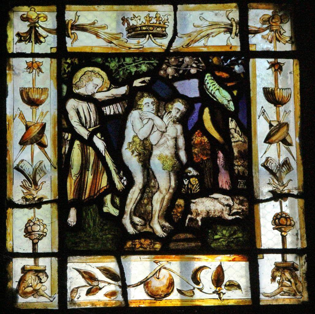 Adam et Ève chassés du Paradis, vitrail de Van Doorne, début du XVIIe siècle, ancienne chapelle privée.