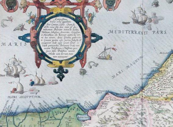 Carte de Palestine (détail), Theatrum Orbis Terrarum 1570.