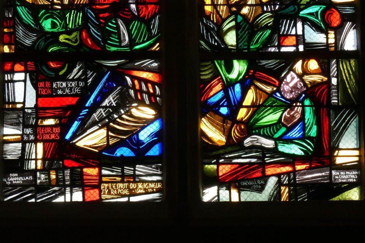 Jessé, in Arbre de Jessé, Jacques Le Chevallier, vitrail du déambulatoire, chœur de l'église Notre-Dame du Cap Lihou, Granville, photographie lavieb-aile.