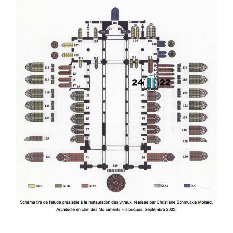 Plan des vitraux de la cathédrale et localisation des baies 22 et 24 dans la chapelle Sainte-Catherine.