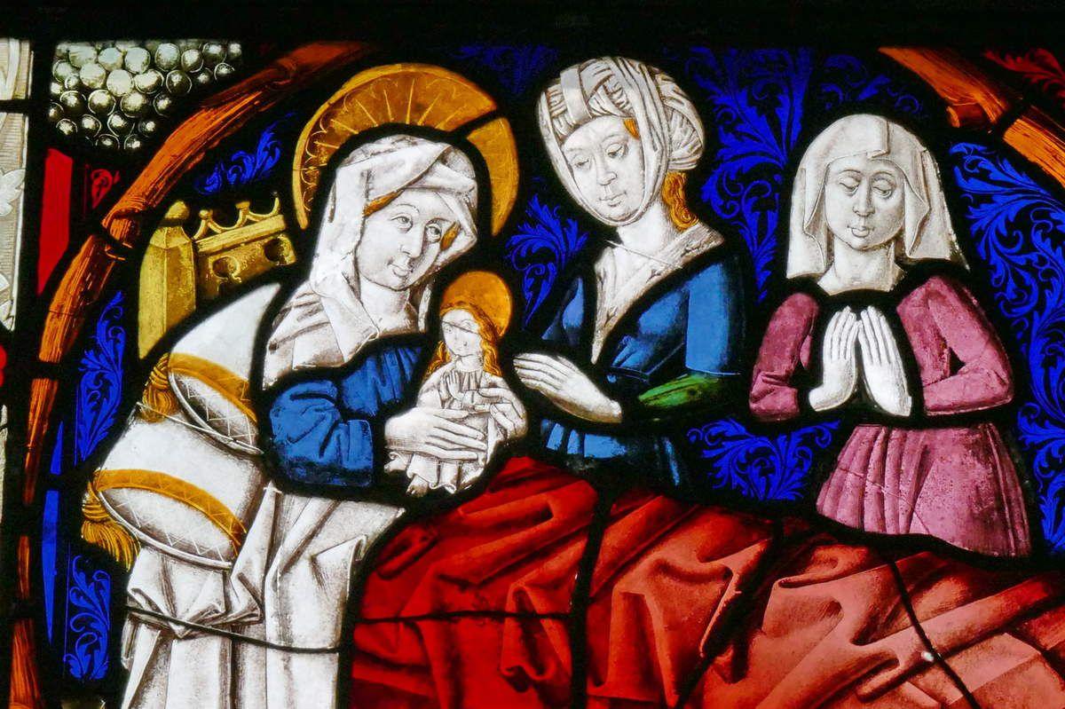 Naissance de la Vierge, baie n°7 , Vigne de Jessé et Vie de la Vierge (1466), église Saint-Dominique, Saint-Thann. Photographie lavieb-aile.