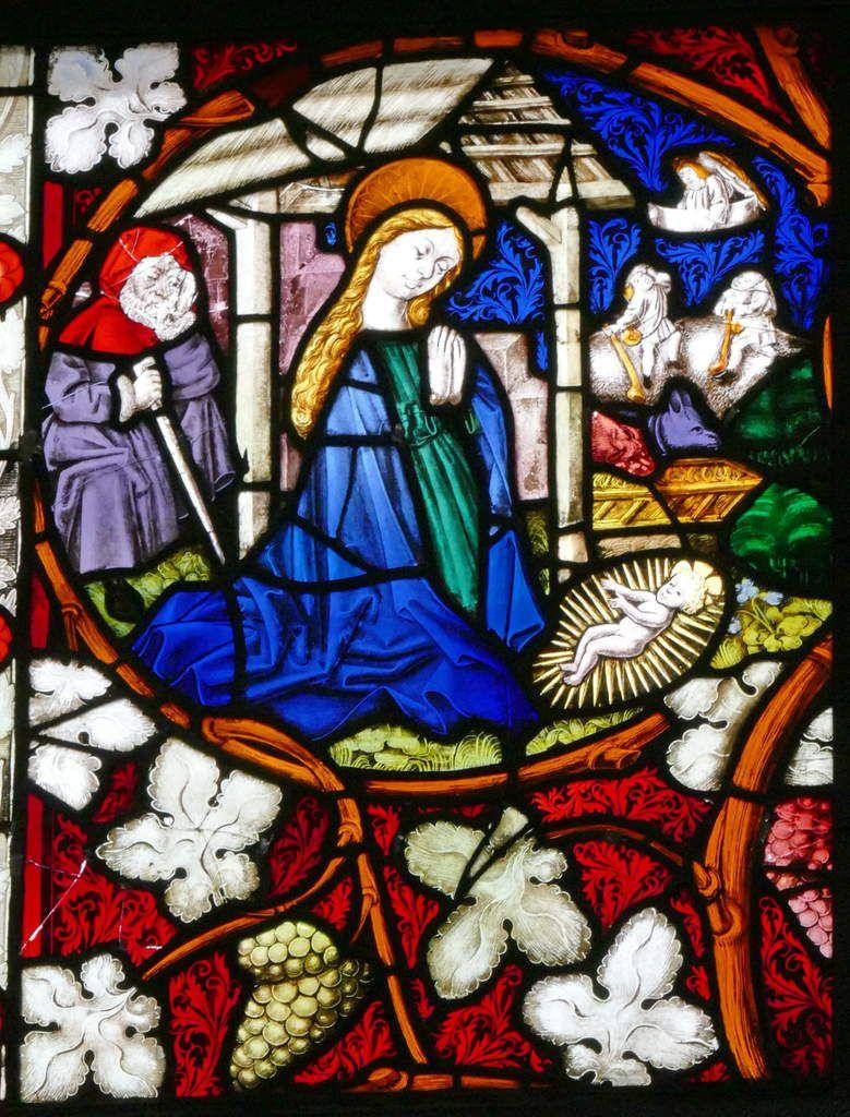 Nativité, baie n°7 , Vigne de Jessé et Vie de la Vierge (1466), église Saint-Dominique, Saint-Thann. Photographie lavieb-aile.