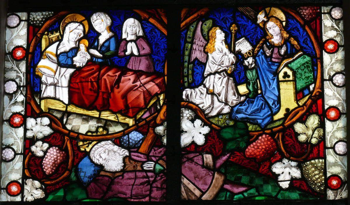 La Vigne de Jessé , baie n°7 , Arbre de Jessé et Vie de la Vierge (1466), église Saint-Dominique, Saint-Thann. Photographie lavieb-aile.