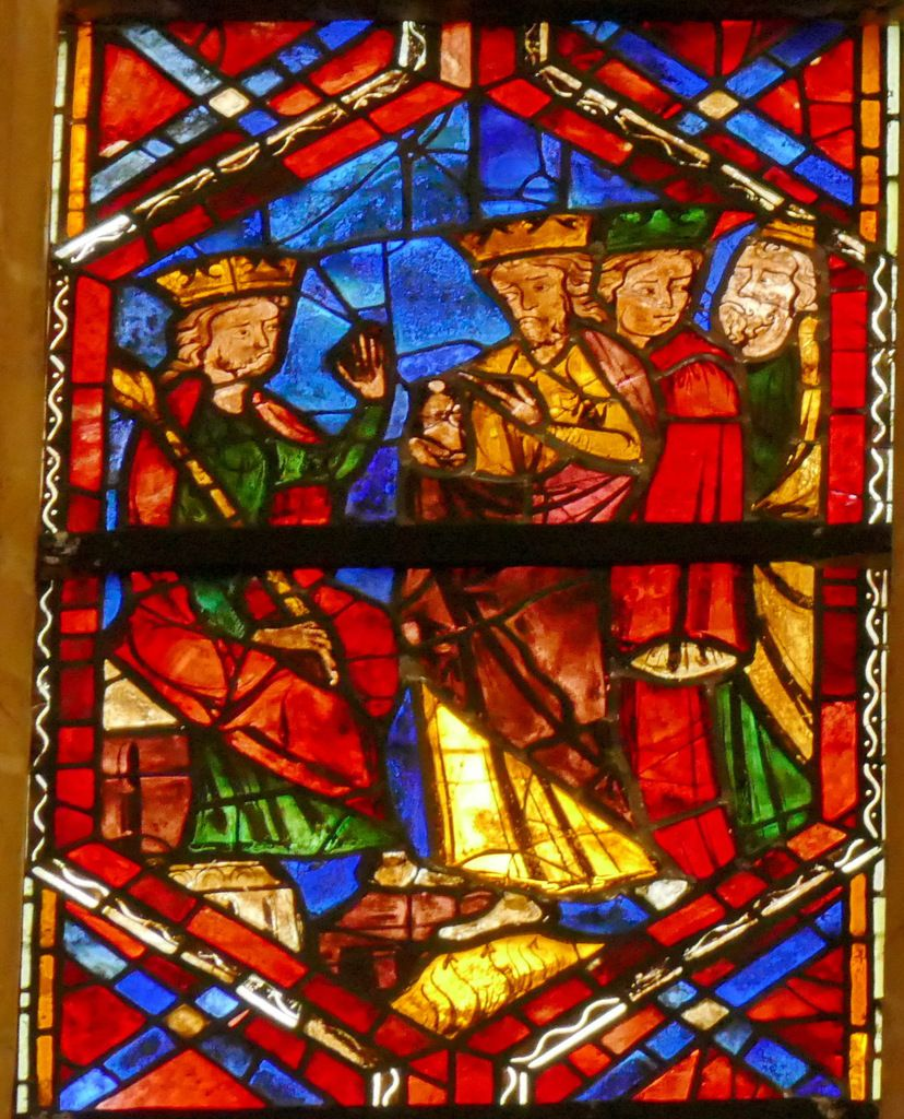 Les mages devant Hérode, baie 202, Arbre de Jessé et Enfance du Christ, cathédrale Saint-Gatien de Tours, photographie lavieb-aile.