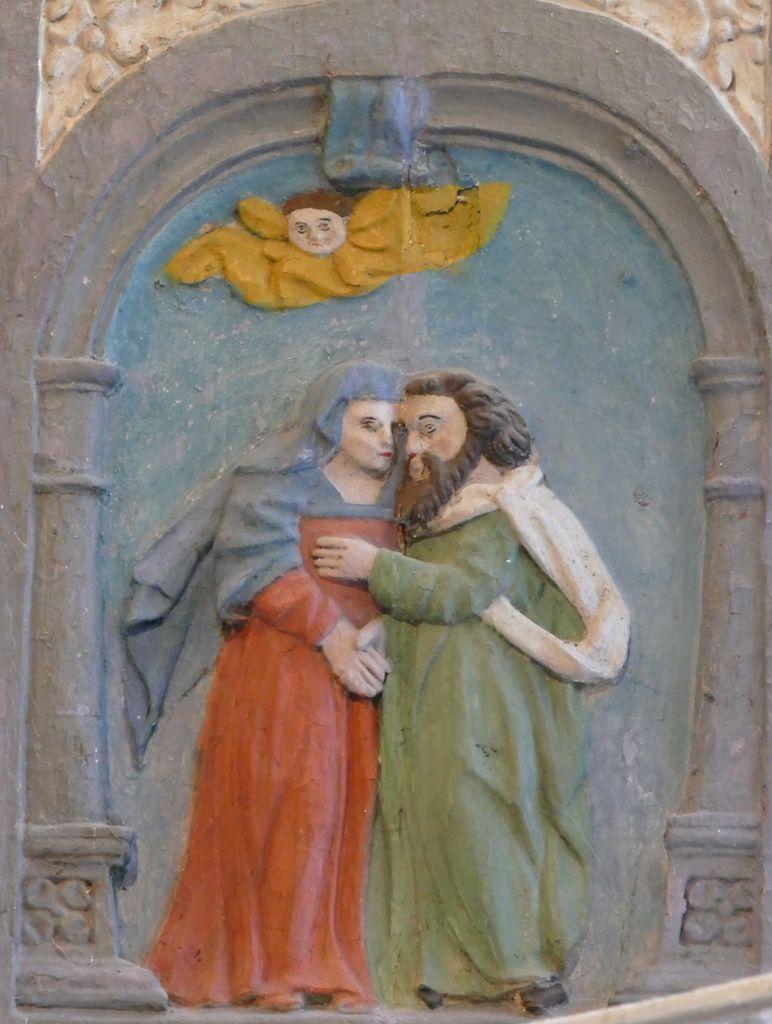 Baiser d'Anne et Joachim devant la Porte Dorée, Retable de la Vierge, Notre-Dame du Crann (Spézet), photographie lavieb-aile.