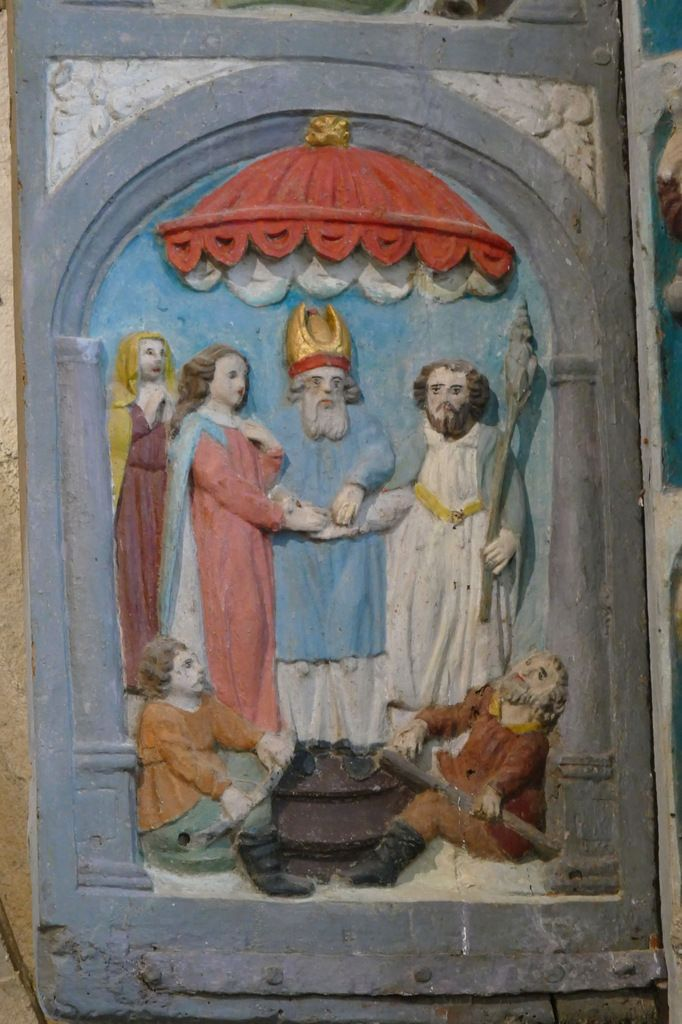 Mariage de la Vierge et de Joseph, Retable de la Vierge, Notre-Dame du Crann (Spézet), photographie lavieb-aile.