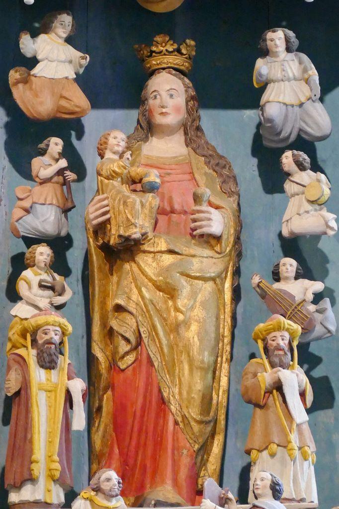 La Vierge et l'Enfant, Retable de la Vierge, Notre-Dame du Crann (Spézet), photographie lavieb-aile.