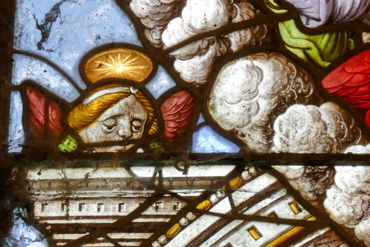 Registre supérieur, Verrière de la Dormition et du Couronnement de la Vierge, chapelle Notre-Dame-du-Crann, Spézet. Photographie lavieb-aile.