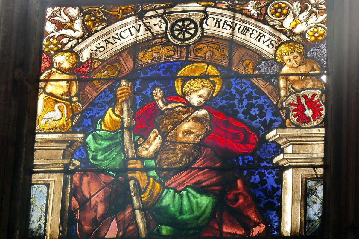 Saint Christophe, Fenêtre  de la chapelle Krozingen, v.1524, cathédrale de Fribourg-en-Brisgau, photographie lavieb-aile.