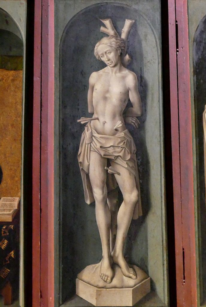 Saint Sébastien, Saint Antoine, Guigone de Salins,  volets du Polyptyque du Jugement Dernier, Hospices de Beaune, photographie lavieb-aile.