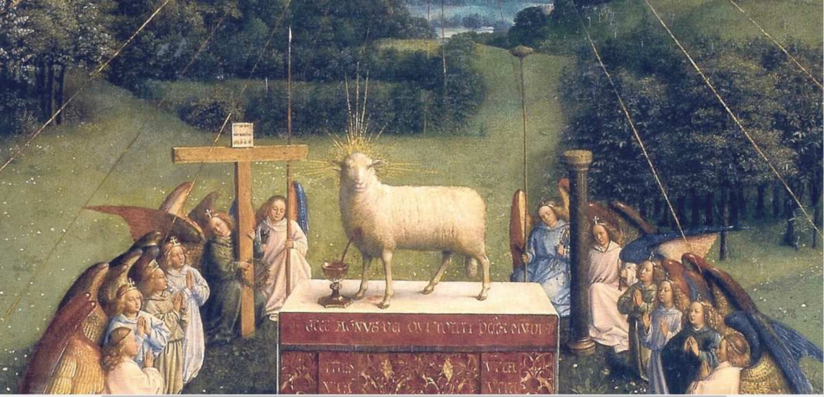 L'Agneau mystique de Van Eyck,(détail), cathédrale de Gand, d'après https://upload.wikimedia.org/wikipedia/commons/1/18/Ghent_Altarpiece_D_-_Adoration_of_the_Lamb_2.jpg