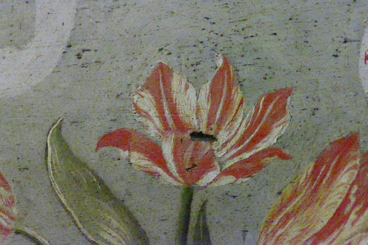 Tulipes, lambris à motto de Jean Mosnier (vers 1640-1650), Salle des Gardes, Château de Cheverny, photographies lavieb-aile.