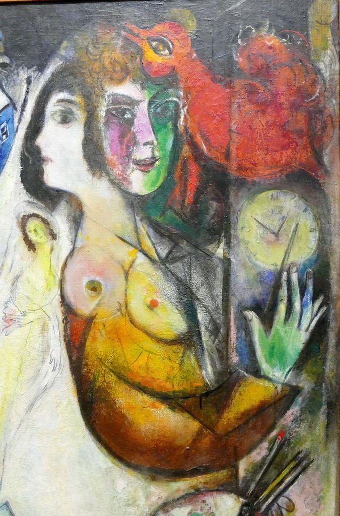 Le cœur des amants et le balancier de l'horloge battent le même temps qui passe et qui pourtant demeure. Détail du Gant noir, 1923-1948. Huile sur toile, 111 x 81,5 cm. Collection privée.  Photographie lavieb-aile lors de l'exposition de la Fondation Hélène et Édouard  Leclerc à Landerneau.