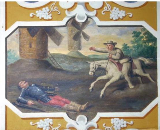 Don Quichotte, L'aventure des moulins à vent : XIXe siècle. Cheverny , in Quaranta 2013 (reproduction avec son aimable autorisation).