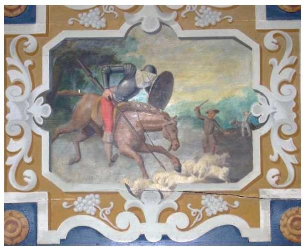 Don Quichotte chargeant les moutons, Cheverny, XIXe siècle  in Quaranta 2013 (reproduction avec son aimable autorisation).