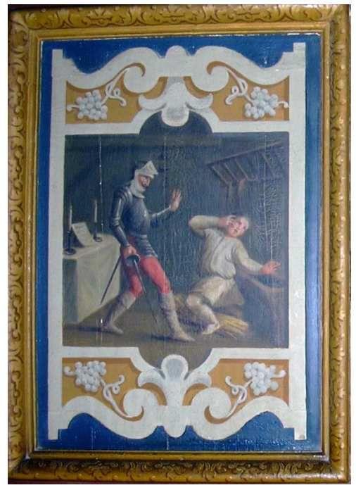 Sancho blessé alors qu'il est armé chevalier par don Quichotte, Cheverny, XIXe s, photo G. Quaranta (aimable autorisation).