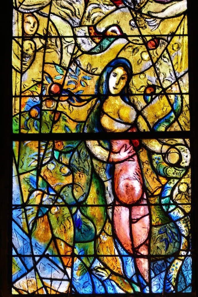 La Tentation d'Ève, Lancette C,  Marc Chagall, vitrail de La Création, 1959-1963, cathédrale de Metz. Photographie lavieb-aile.