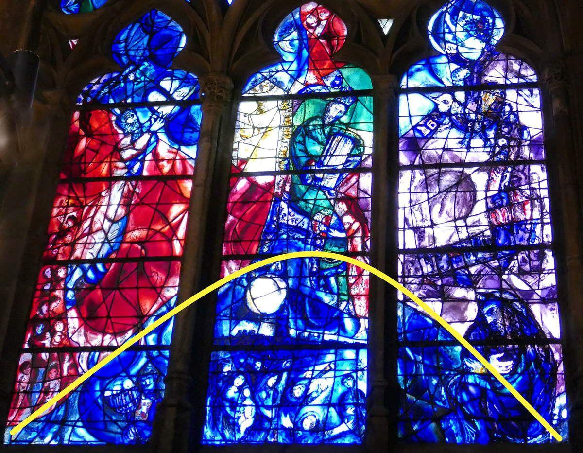 Marc Chagall,  lancette B.  baie n°9 , déambulatoire nord, cathédrale de Metz. Photographie lavieb-aile.