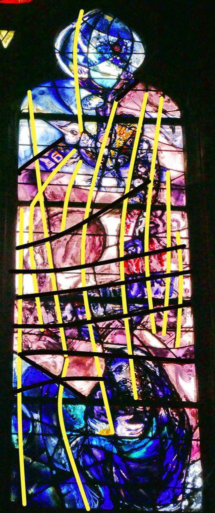 Lignes directrices de la lancette C.  baie n°9 , déambulatoire nord, cathédrale de Metz. Photographie lavieb-aile.
