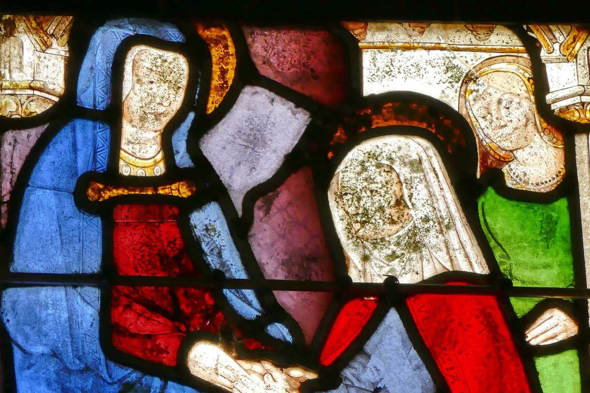 Visitation (détail),  baie axiale, église de Brennilis. Photographie lavieb-aile.