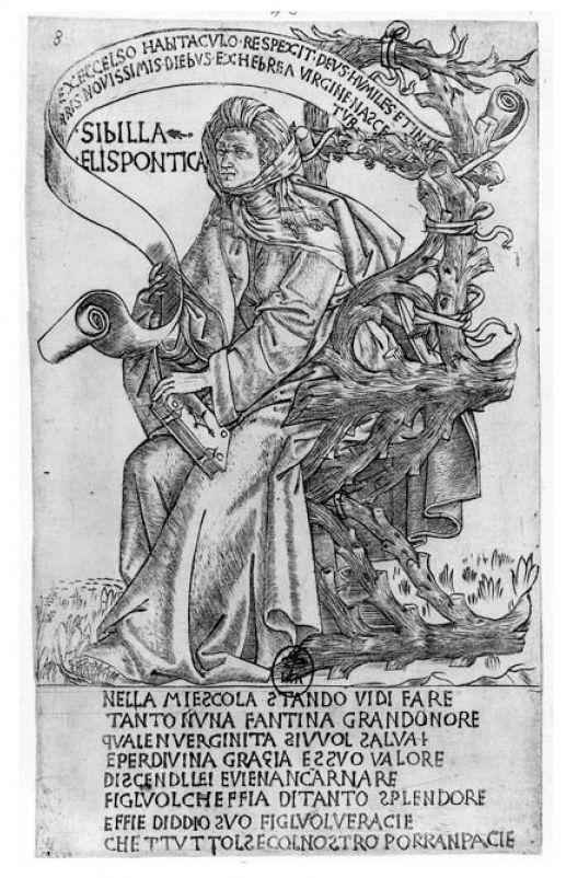 La Sibylle Hellespontique selon Baccio  Baldini (1470-1480), Filippo Baldieri (1481),  les Heures de Louis de Laval (avec la page de typologie en regard).