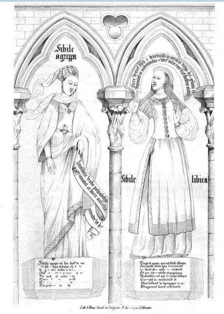 Sibylles Agrippa et Libica, peintures murales de la chapelle Saint-Éloi, cathédrale d'Amiens in Jourdain & Duval 1845 Google.