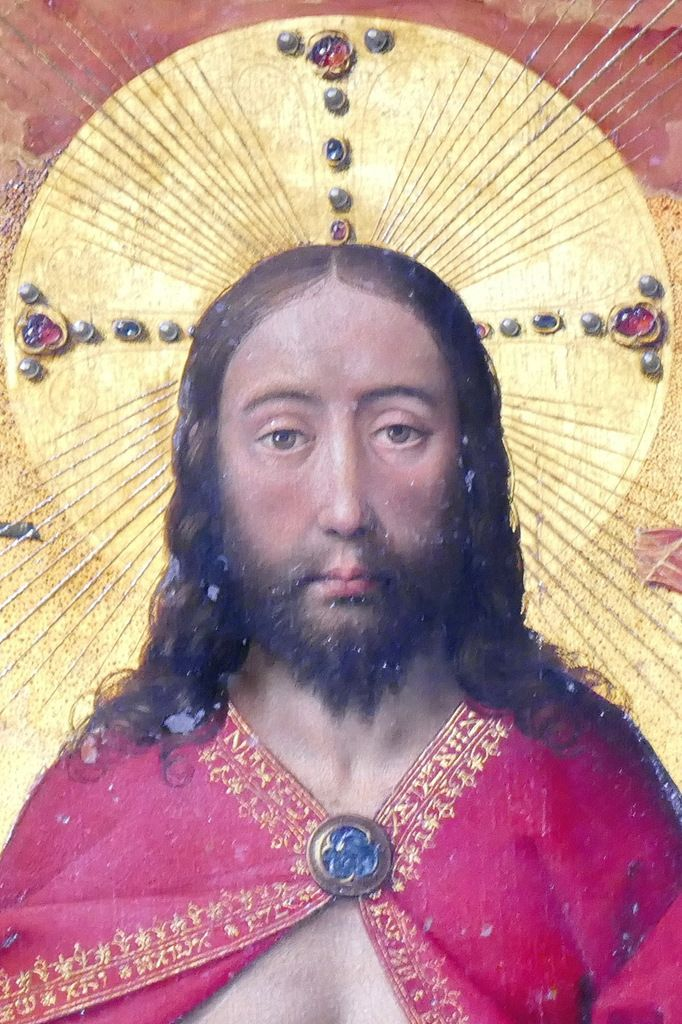 Visage nimbé du Christ,  Rogier Van der Weyden, Polyptyque du Jugement Dernier, Hospices de Beaune. Photographie lavieb-aile.