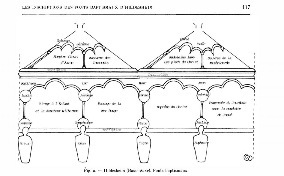 Fonts baptismaux 'Hildesheim (Basse-Saxe) in Favreau http://www.persee.fr/docAsPDF/ccmed_0007-9731_1995_num_38_150_2609.pdf