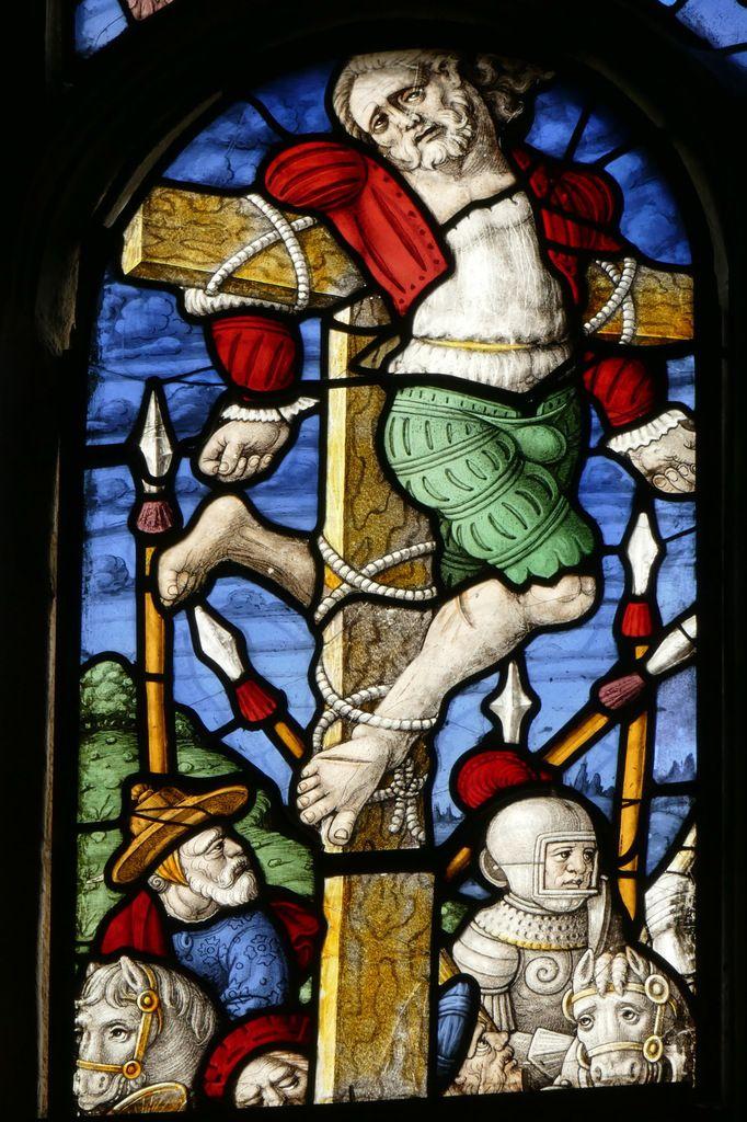 Le bon larron, lancette A, baie  0, chœur de l'église Saint-Salomon de La Martyre. Photographie lavieb-aile.