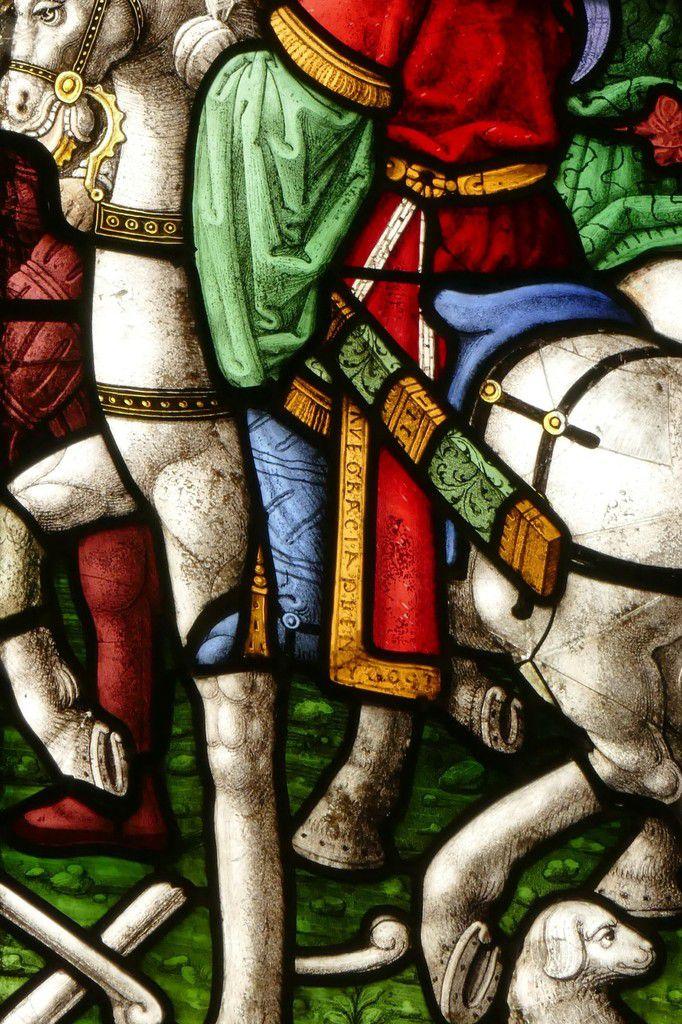 Un cavalier, lancette C, baie  0, chœur de l'église Saint-Salomon de La Martyre. Photographie lavieb-aile.