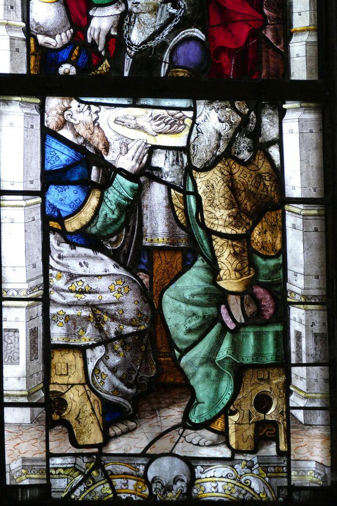 Fragment de Cène, Baie 1, chœur de l'église Saint-Salomon de La Martyre. Photographie lavieb-aile.