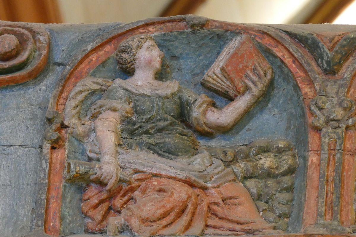 La Sibylle Cimmérienne et son biberon. Poutre de Gloire (XVIe siècle) de l'église de Lampaul-Guimiliau. Photographie lavieb-aile 2016.