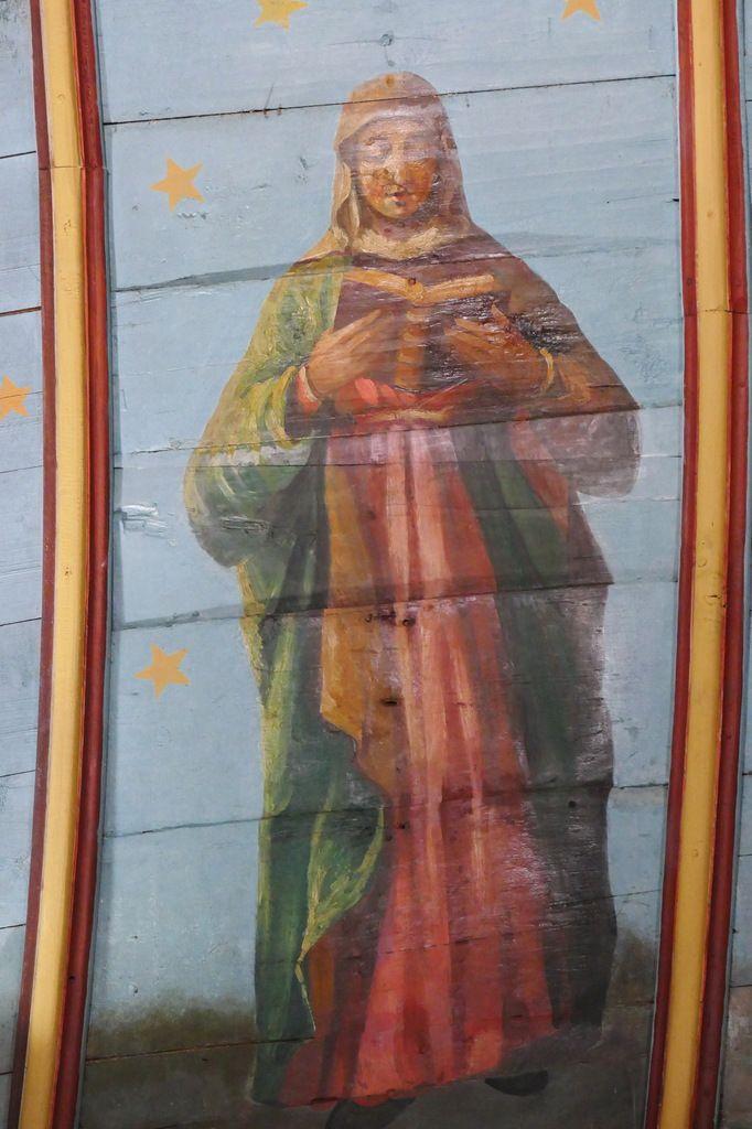 Sainte Nonne. Lambris peints  de l'église de Dirinon. Photographie lavieb-aile février 2017.