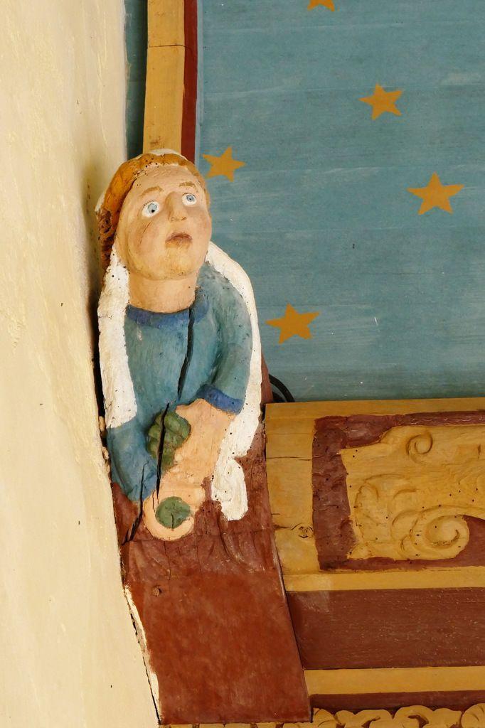 Voûte lambrissée du  porche de l'église de Dirinon. Photographie lavieb-aile février 2017.