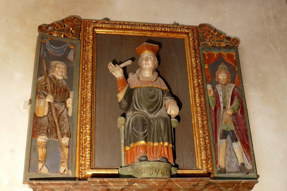 Triptyque de Saint Yves entre le Riche et le Pauvre, XVIIe siècle, église Sainte-Marie-Madeleine de Dinéault. Photographie lavieb-aile février 2017.