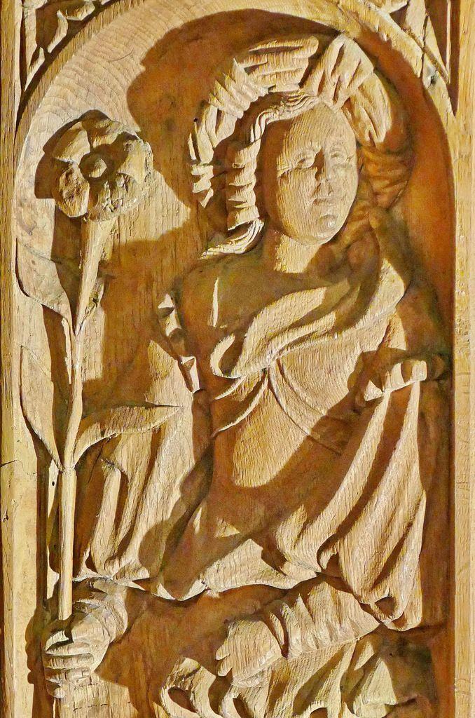 La Sibylle d'Erythrée (détail), panneaux du chœur de l'église de Guimiliau. Photographie lavieb-aile 2016.