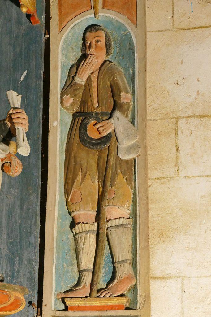 Niche à volets de saint Yves entre le Pauvre et le Riche, chapelle saint-Yves de la chapelle Saint-Herbot. Photographie lavieb-aile mars 2017.