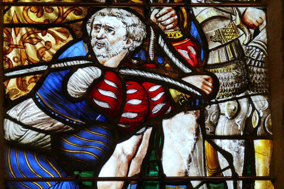 Le Portement de croix, lancette F du registre supérieur, maîtresse-vitre (1556) du chœur de la chapelle Saint-Herbot en Plonévez-du-Faou. Photographie lavieb-aile mars 2017.