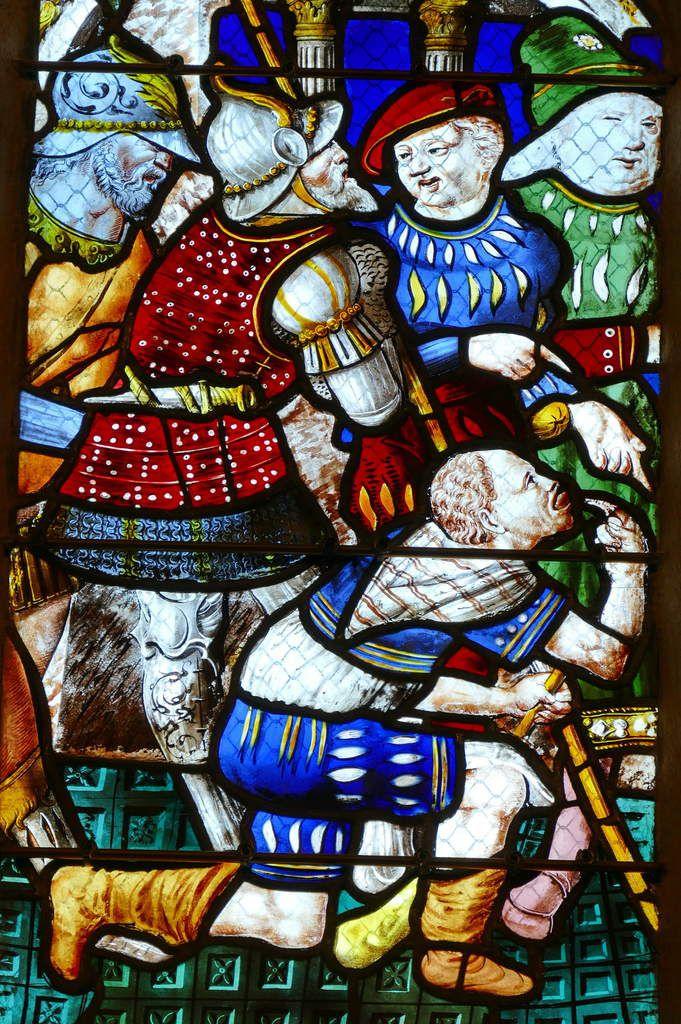 Lancette D  du registre supérieur, maîtresse-vitre (1556) du chœur de la chapelle Saint-Herbot en Plonévez-du-Faou. Photographie lavieb-aile mars 2017.