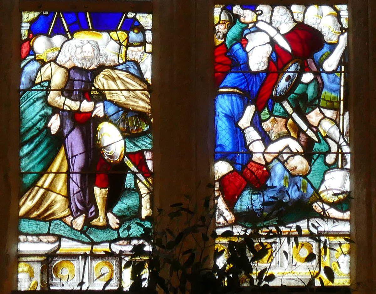 Lancettes C et D du registre inférieur, maîtresse-vitre (1556) du chœur de la chapelle Saint-Herbot en Plonévez-du-Faou. Photographie lavieb-aile mars 2017.