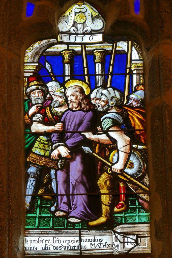 Lancette B du registre supérieur, maîtresse-vitre (1556) du chœur de la chapelle Saint-Herbot en Plonévez-du-Faou. Photographie lavieb-aile mars 2017.