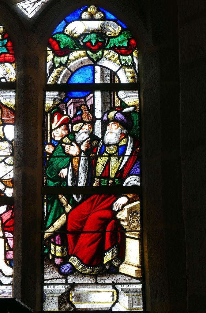 Lancette C, baie n°1, verrière du Martyre de saint Laurent (1556), chapelle Sainte-Barbe, chapelle Saint-Herbot en Plonévez-du-Faou. Photographie lavieb-aile mars 2017.