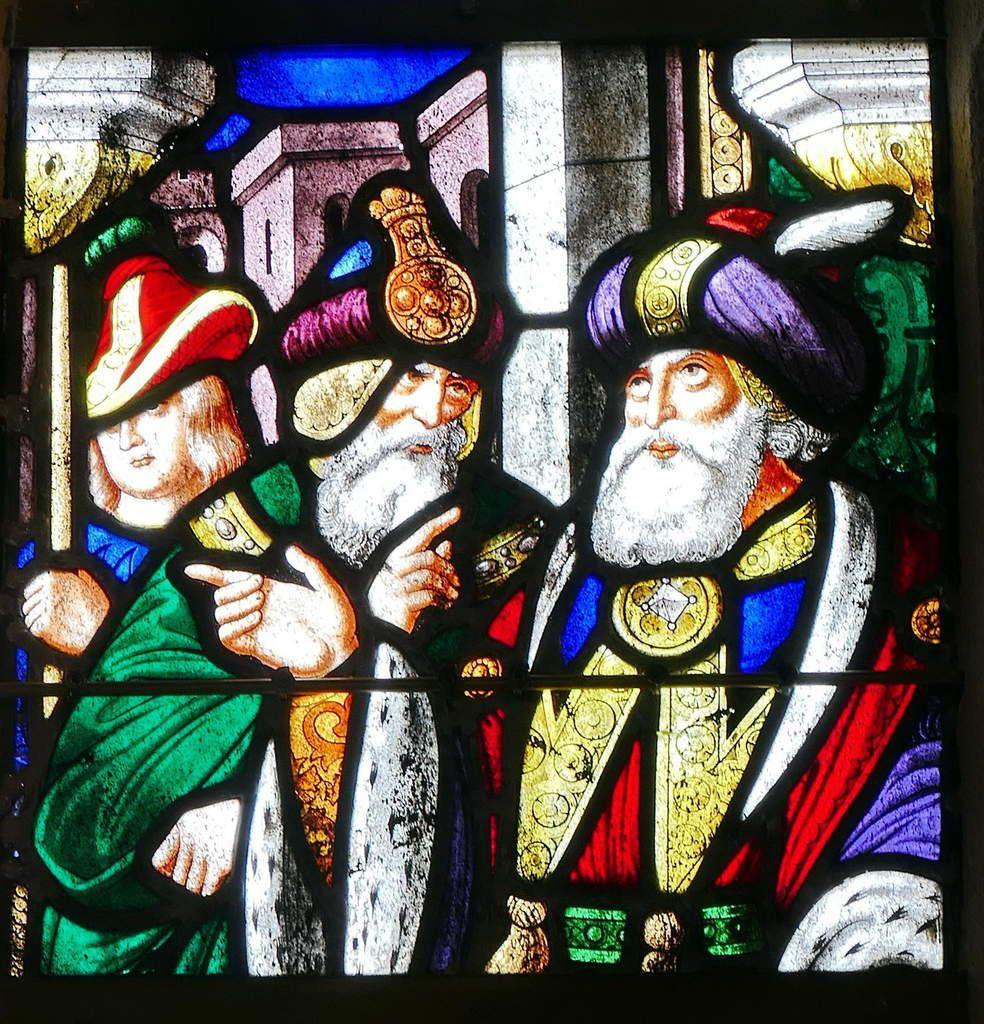 Lancette C (détail), baie n°1, verrière du Martyre de saint Laurent (1556), chapelle Sainte-Barbe, chapelle Saint-Herbot en Plonévez-du-Faou. Photographie lavieb-aile mars 2017.