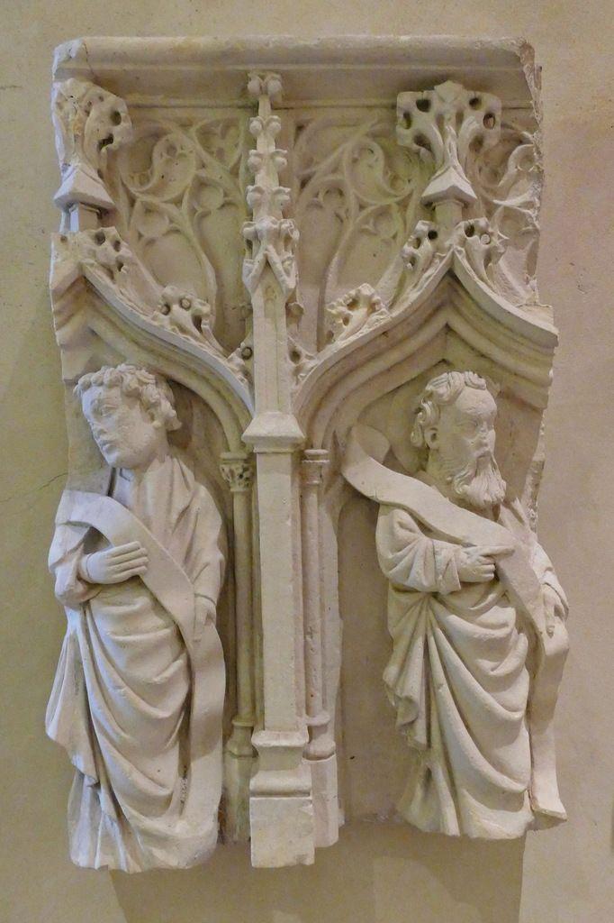 Panneau du coffre du tombeau de Gatien de Monceaux (calcaire, vers 1416),  Musée Départemental Breton. Photographie lavieb-aile avril 2017.
