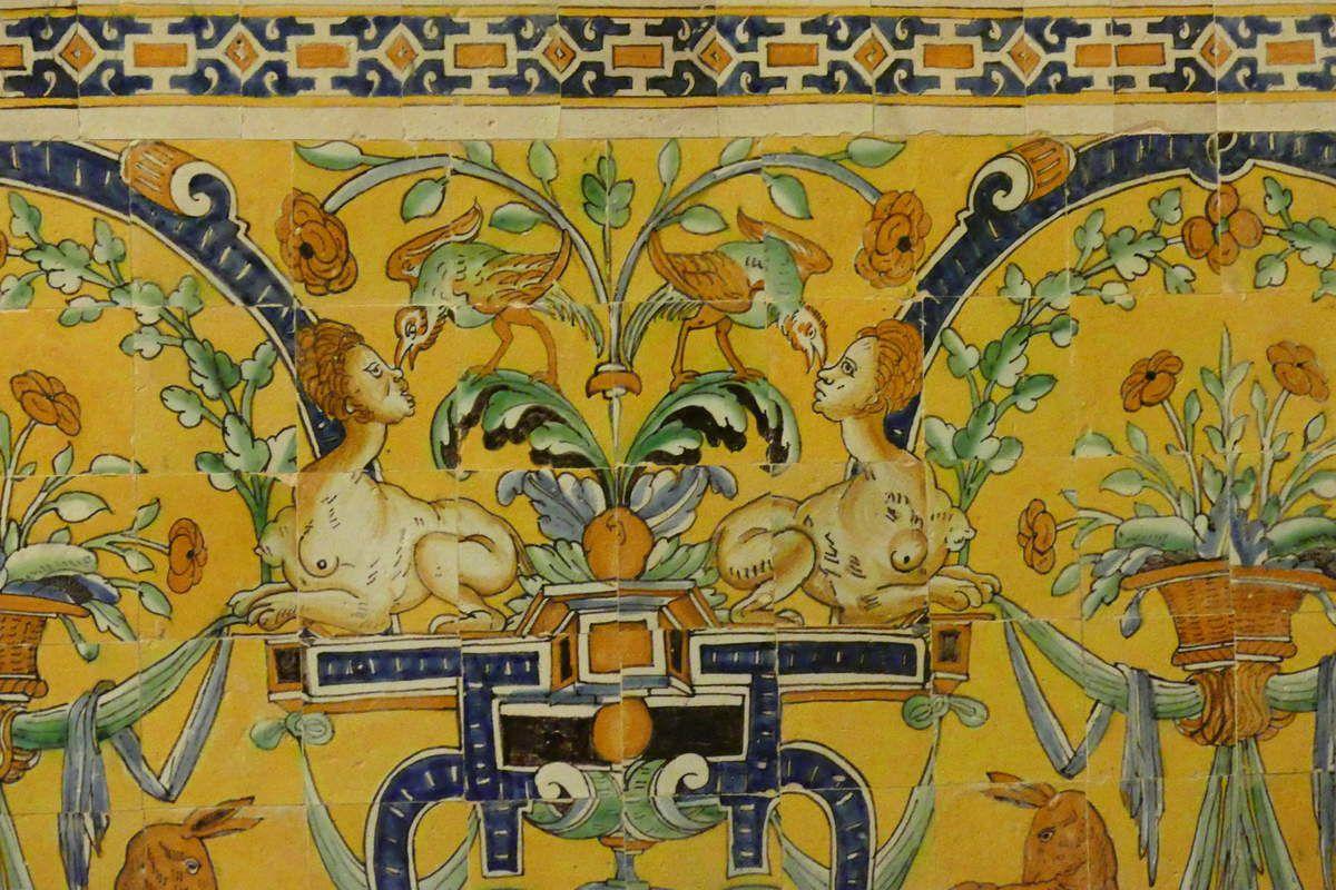 Panneau à la fontaine aux cerfs parCristobal de Augusta en 1577-1578, Alcazar royal de Séville . Photographie lavieb-aile 2015.