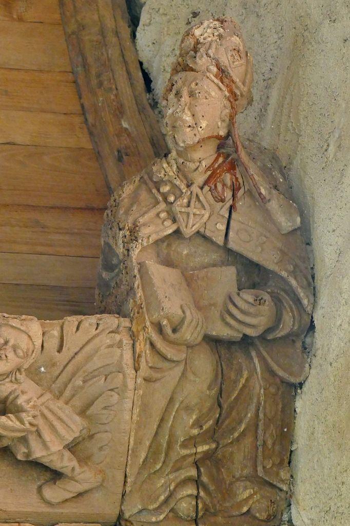 Blochet de la troisième sablière  par le Maître de Pleyben v. 1575, quatrième travée du bas-coté nord, chapelle Sainte-Marie-du-Ménez-Hom.  Photographie lavieb-aile juillet 2017.