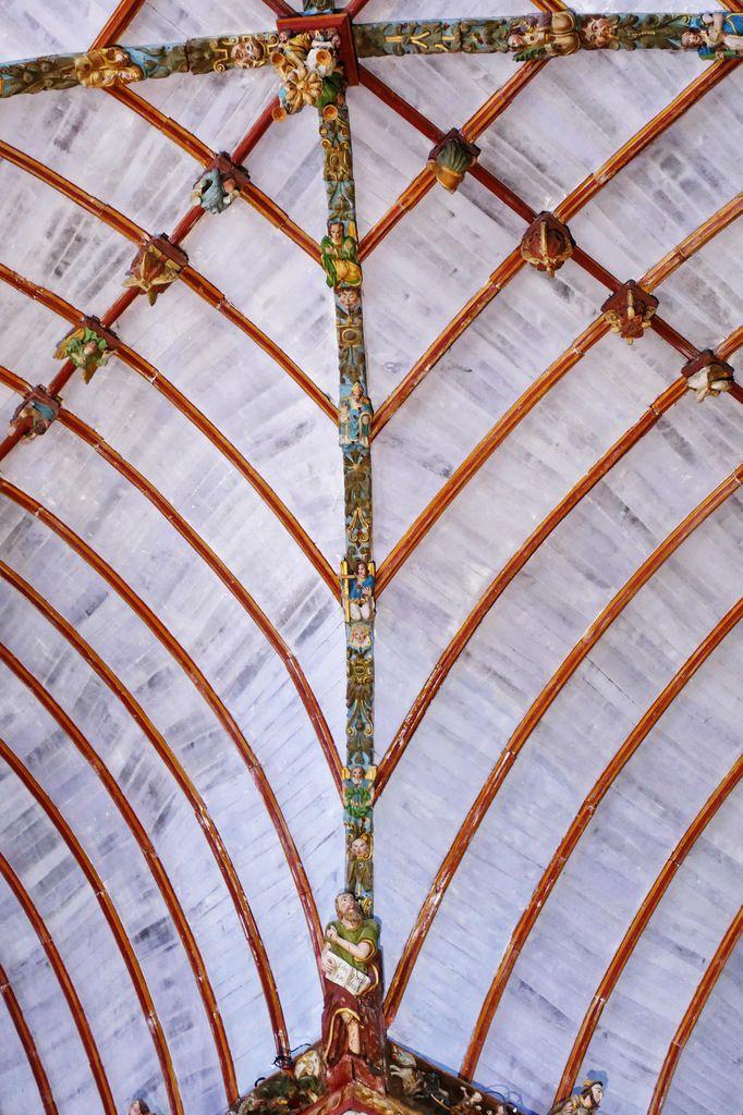 La lierne sud-ouest de la  voûte de la croisée du transept de l'église Saint-Germain de Pleyben, photographie lavieb-aile 2017.